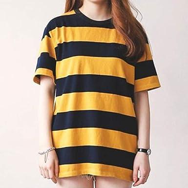 DishyKooker Mujeres Mujer Verano Amarillo Rayas negras Tops de manga corta Camiseta de algodón para niña Estilo coreano yellow L Vida conveniente: Amazon.es: Ropa y accesorios