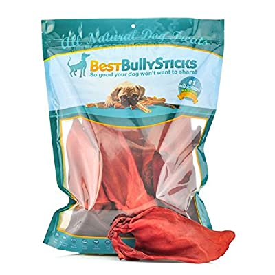 Premium Buffalo Ear Smoked Dog Treats by Best Bully Sticks (20 Pack) Made of 100% Natural Buffalo - Free of Hormones and Additives - Fights Tartar and Plaque to Support Dental Health - USDA/FDA Approved