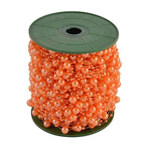 eDealMax Festival Partito Crafting fai da te ghirlanda di fiori decorazione della tavola Pearl Beads String Rullo Arancione