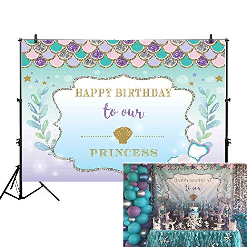 Allenjoy 7x5ft Under The Sea Little Mermaid Backdrop Purple pink Mermaid Scales Glare Glitter ocean Nautical Birthday party banner background for $<!--$19.98-->