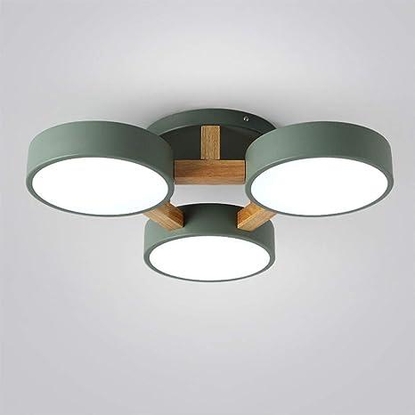 36W LED luz de techo verde metal y madera lámpara de techo ...