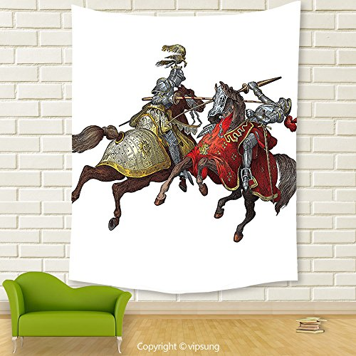 Vipsung House Decor Tapestry_Medieval Decor Middle Age Fighters Knights With Ancient Costume Renaissance Period Illustration Artwork Decor Multi_Wall Hanging For Bedroom Living Room (Frida Kahlo Costume Halloween)
