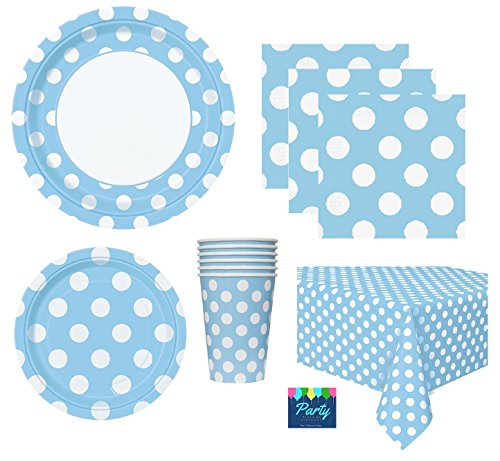 Baby Boy Shower Party Supplies Pack for 16 Guests - Including Lunch Plates, Dessert Plates, Napkins, Cups, and Tablecover