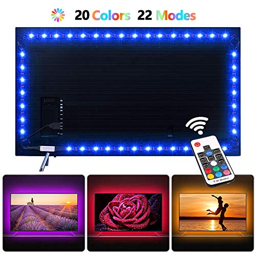 Toodour LED Strip Lights - TV Backlight 6.56ft for 40-60in TV - USB Led TV Light Strip with Remote - 22 Colors Changing 5050 LEDS Bias Lighting for HDTV, Computer, Home Decorative Backlight