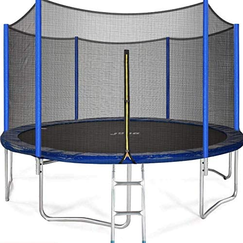 JUPA Kids Trampoline 15FT, Safe Certificated Outdoor Trampoline with Enclosure Net Jumping Mat Safety Pad, Heavy Duty Round Trampoline for Backyard