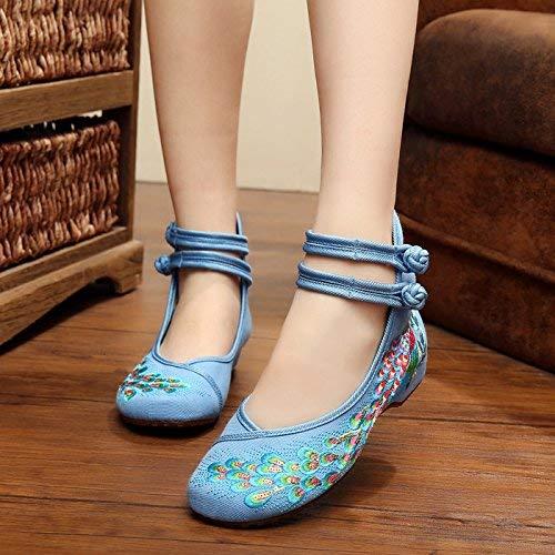 Fuxitoggo Bestickte Bestickte Bestickte Schuhe Sehnensohle Ethno-Stil weibliche Stoffschuhe Mode bequem lässig im Anstieg blau 36 (Farbe   - Größe   -) 0b7453