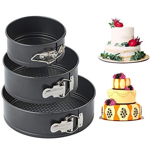 Springform , Backform mit Antihaftbeschichtung, runde Kuchenform mit Flachboden 18/20/22 cm(Farbe: schwarz), Menge: 3 Stück