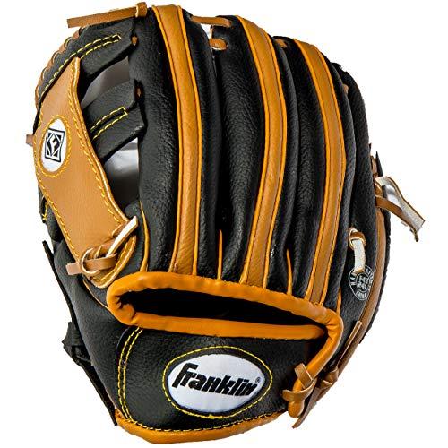 Franklin Sports Teeball Performance Series Fielding Glove with Ball, 9.5-Inch, Black/Tan, Left Hand Throw