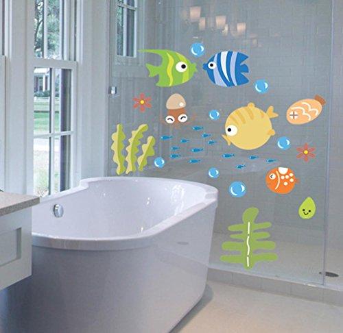 Glass Bubble Fish - BIBITIME Ocean Undersea World Kinds of Fishes Wall Decal for Nursery Seaweed Cuttlefish Bubbles Art Mural Kids Room Decor Bathroom Glass Door Window Sticker