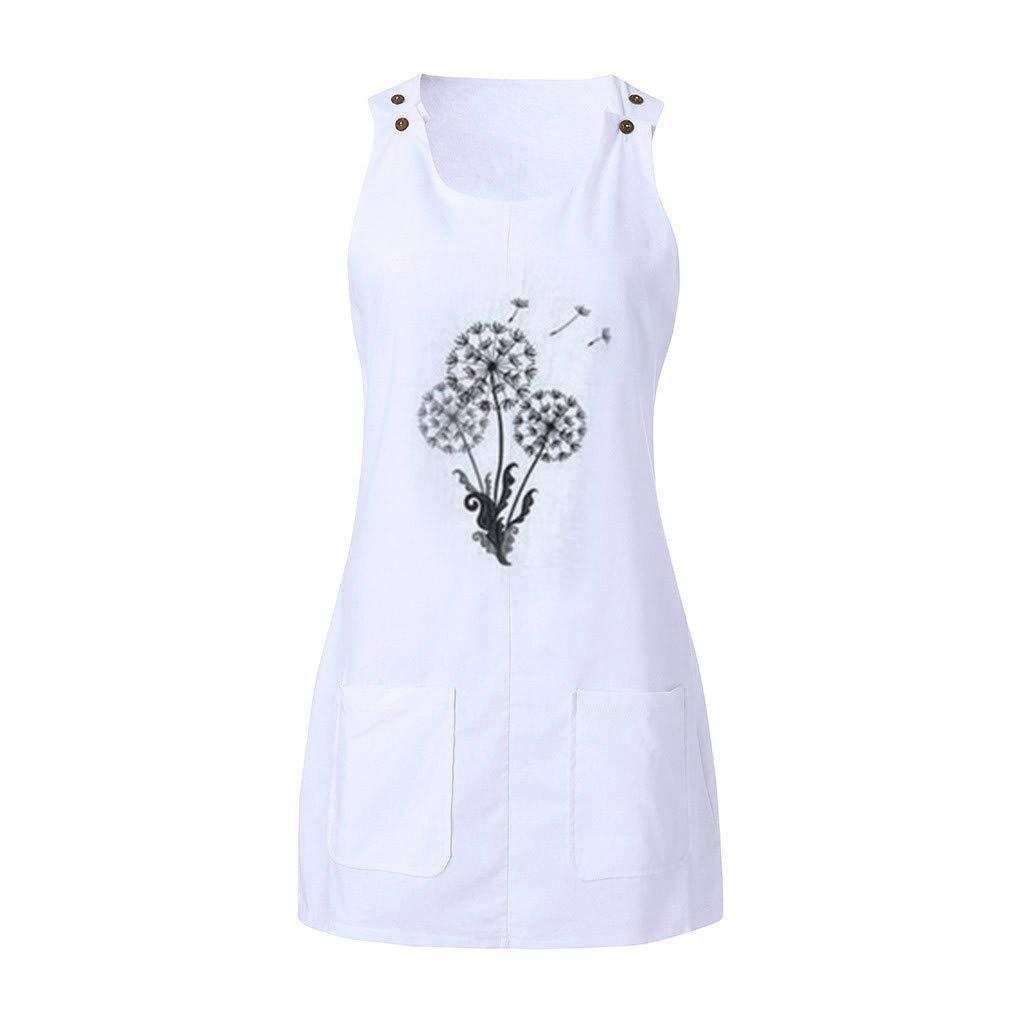 2019 New Dresses,Chaofanjiancai Womens Summer Crew Neck Sleeveless Casual Mini Dress with Pockets Casual Tank Dresses