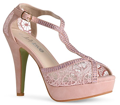 LUSTHAVE Women's Open Toe Crochet High Heel Platform Lace Crystal Rhinestones Pump Dress Sandals Blush 6.5 (Pink Sandals Shoes Heels)