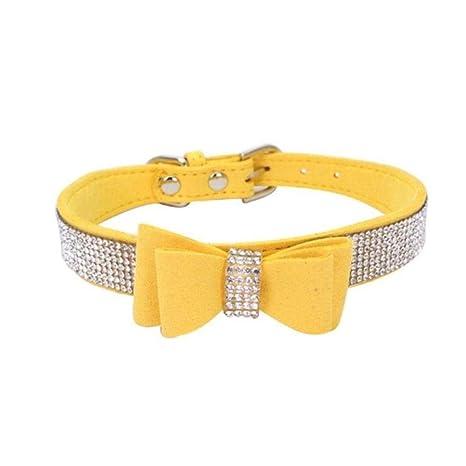 PENVEAT Arnés para Collar de Perro Mascota Rhinestone Lleno Collar ...
