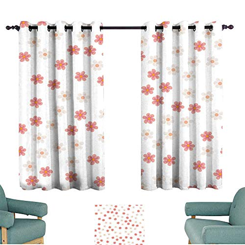 Warm Family Drapes for Living Room Small Colored Flowers on a White Background for Prints Postcards Greeting Cards Wedding Invitations Birthday Valentine s Day for Living, Dining, Bedroom (Pair) ()