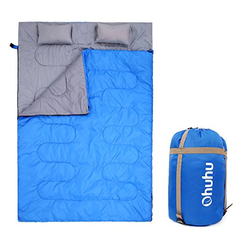 Ohuhu Double Sleeping Bag with 2 Pillows and a Carrying Bag for Camping, Backpacking, Hiking (Blue)