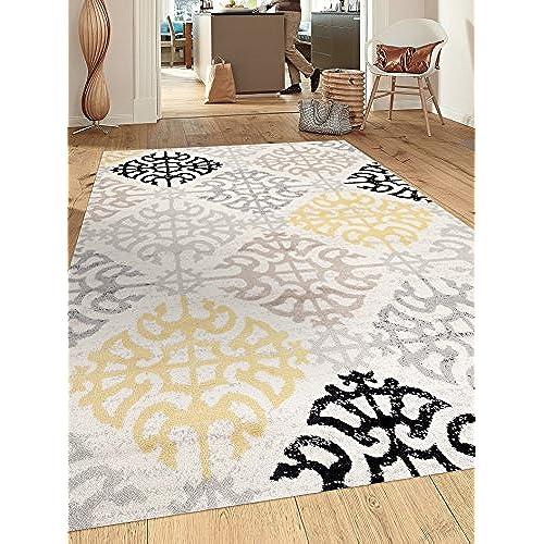 Rugshop Contemporary Geometric Design Indoor Area Rug 53 X 73 Cream