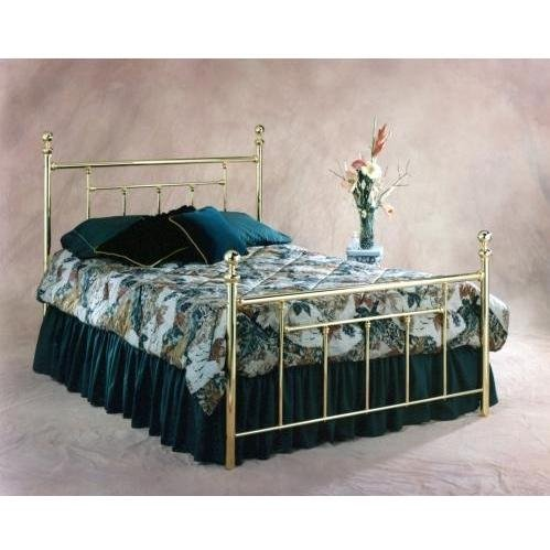 Hillsdale Furniture 1038BQ2 Chelsea Bed Set with Rails, Queen, Classic Brass (Sleigh Bed Brass Set)