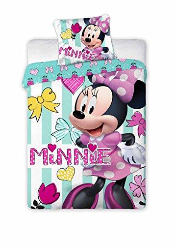Kinderbettwäsche Disney III 2-teilig 100% Baumwolle 40x60 + 100x135 cm mit Reißverschluss (Minnie Mouse mint)