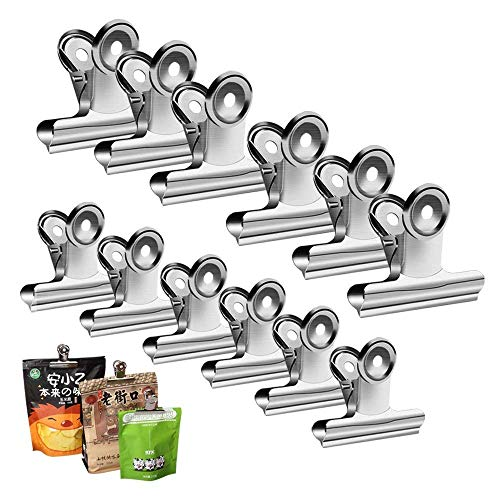 Chip Clips Bag Clips Food Clips - Heavy Duty Clips for Bag, Silver - All-Purpose Air Tight Seal Good Grip Clips Cubicle Hooks for Office School Home Pack of 12