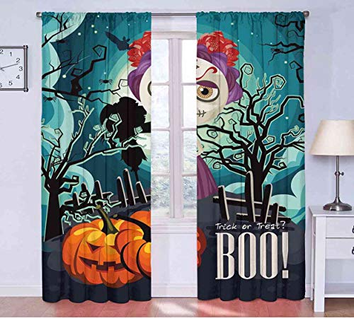 Blackout Curtains Halloween,Cartoon Girl with Sugar Skull Makeup Retro Seasonal Artwork Swirled Trees Boo,Multicolor Curtains Unique W108 x L96(274cm x -