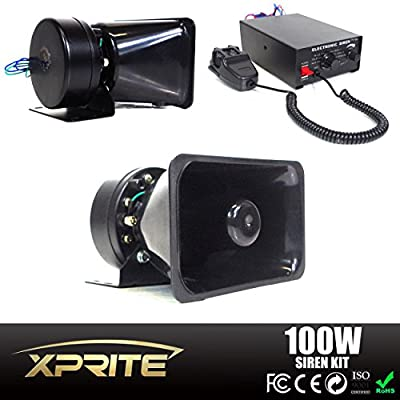 Xprite 7 Tone 100W 12V Police Siren PA System Electronic Emergency Vehicle Warning Siren-Speaker PA System Set w/ Handheld Microphone