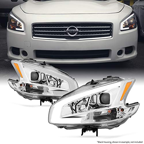 Fits 2009 2010 2011 2012 2013 2014 Nissan Maxima LED DRL Light Tube Projector Front Headlamps ()