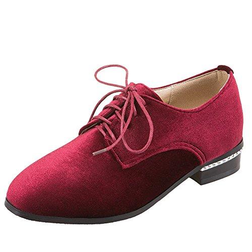 Charme Pied Femmes Mode Bas Talon Lacets Oxfords Chaussures Vin Rouge