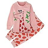 A&J Design Little Girls Giraffe 2 Piece Pajamas Sets Long Sleeve Cotton PJS Toddler Clothes Kids Shirts (2T, Giraffe)