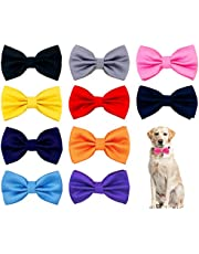 """PET SHOW 10pcs 2.5""""4.5"""" Large Dogs Collar Attachment Bow Ties Embellishment Girls Boys Medium Dog Puppies Cats Collar Charms Accessories Bulk Slides Bowties for Birthday Wedding Parties"""