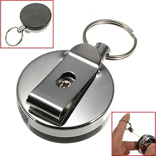 Stainless Steel Tool Belt Money Retractable Key Ring Pull Chain Clip ()