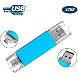 Flash Drive 32GB for Android Phone, Gig Stick OTG, USB2.0 Dual Flash Stick 32GB JBOS Memory Stick, Thumb Drives Pen Drive for Computers & Android Micro Device (Phone Tablet PC Samsung,etc) Light Blue