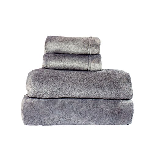 - Cozy Fleece Comfort Collection Velvet Plush Sheet Set, California King, Gray, 1 Sheet Set