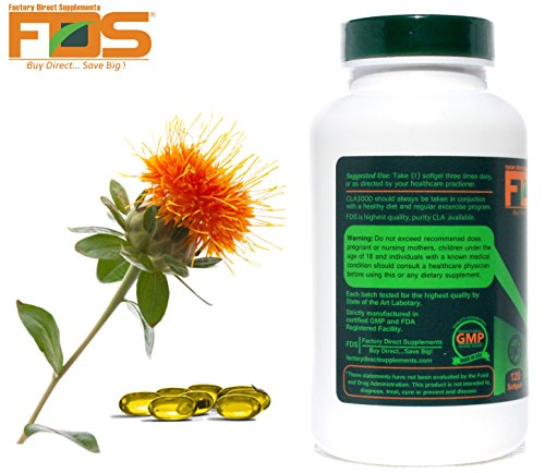 Cla Safflower Oil For Healthy Weight Loss and Belly Fat NonGMO Pure CLA 3000 Milligram,120 Softgels Highest Grade Safflower Oil Available in the Market Increase Lean Muscle Perfect for Men and Women