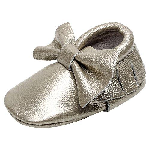 Jamron Bebé Encantador Bowknot Borla Cuna Zapatos Infantil Niñito Suave Suela Zapatillas Prewalker 0-24 Meses Color del Arma