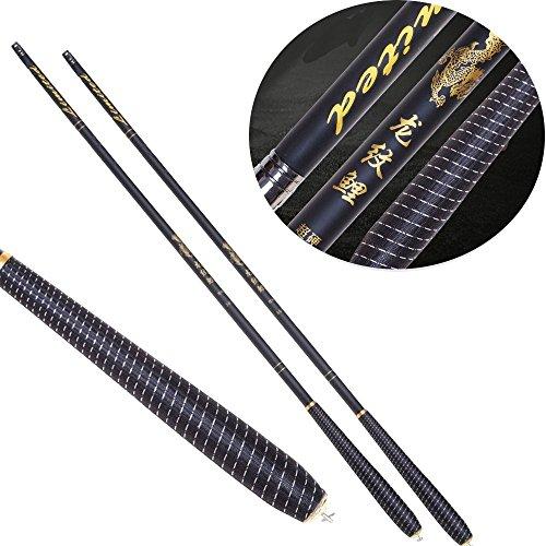NEHO Fishing Rod Portable Carbon Pole Stream Carp Fishing Rod with Dragon Pattern Design 3.6, 3.9, 4.5, 5.4, 6.3, 7.2 M(black(4.5m)