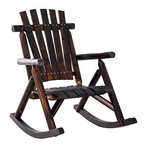 (Outsunny Outdoor Fir Wood Rustic Patio Adirondack Rocking Chair Furniture)