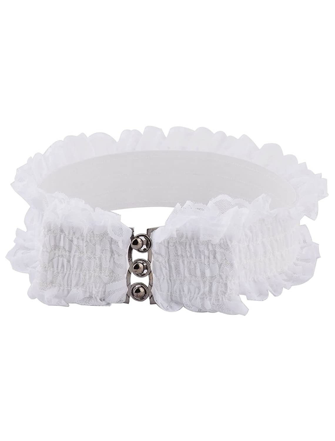 uxcell Lace Women Lady Outdoor Party Elastic Stretchy Ornament Cinch Buckle Waist Belt