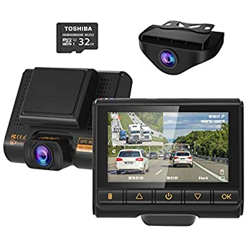Image of On-Dash Cameras Dual Dash Cam, AQP Full HD 1080P Car Camera Front and Rear for Cars, Dashboard Camera Recorder with GPS & WiFi, Sony Sensor, 170°/ 150°Wide Angle, 3 inch IPS Screen, G-Sensor, WDR, Cycle Recording
