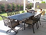 Theworldofpatio Mandalay Cast Aluminum Powder Coated 7pc Outdoor Patio Dining Set with 44″x84″ Rectangle Table – Antique Bronze