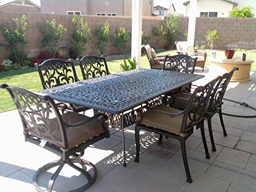 Theworldofpatio Mandalay Cast Aluminum Powder Coated 7pc Outdoor Patio Dining Set with 44 x84 Rectangle Table – Antique Bronze