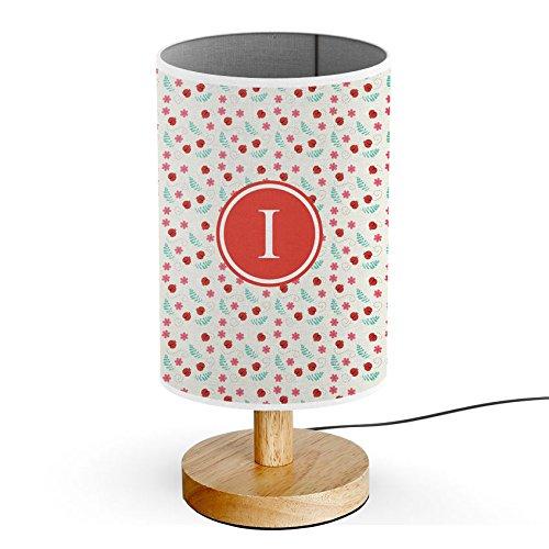 [ INITIAL LETTER I ] Monogram Name USB POWERED Wood Base Desk Table Bedside Lamp [ Ladybug floral Colorful ]