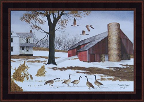 (Headin' South by Billy Jacobs 15x21 Winter Snow Canadian Geese Red Barn Farm House Primitive Folk Art Print Framed Picture)
