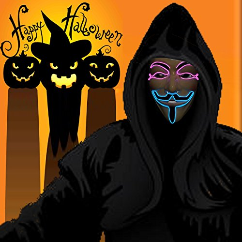 Guy Fawkes Girl Costume (Wireless masquerades masks / guy fawkes mask / halloween mask / light up mask / fawkes mask / Dj mask / wireless mask with on and flash by one size filled most face (pink&blue))