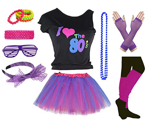 Girls 70s Clothes (Girls I Love The 80's Disco T-Shirt for 1980s Theme Party Outfit (Purple2, 7-8)