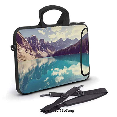 12 inch Laptop Case,Moraine Lake in Banff National Park in Canada High Peaks and Trees Image Neoprene Laptop Shoulder Bag Sleeve Case with Handle and Carrying & External Side Pocket,for Netbook/MacBoo