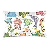 Top Carpenter Cute Undersea Fish Velvet Oblong Lumbar Plush Throw Pillow Cover/Shams Cushion Case - 20x36in - Decorative Invisible Zipper Design for Couch Sofa Pillowcase Only
