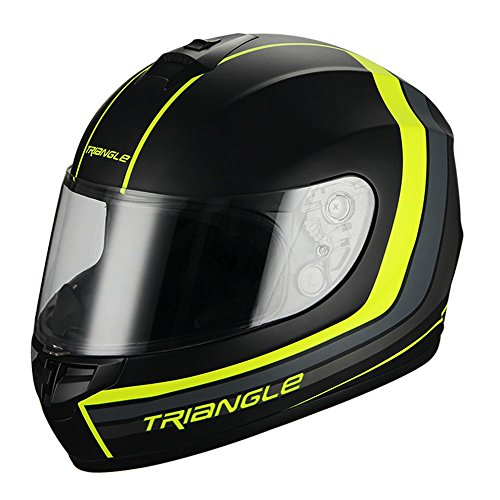 Triangle Full Face Matte Street Bike Motorcycle Helmet [DOT] (Medium,Matte Black/Neon Yellow) (Yellow Motorcycle Helmet)