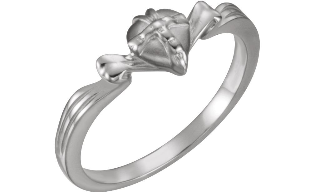 'The Gift Wrapped Heart' Cross Rhodium Plated 14k White Gold Chastity Ring, 7MM, Size 4
