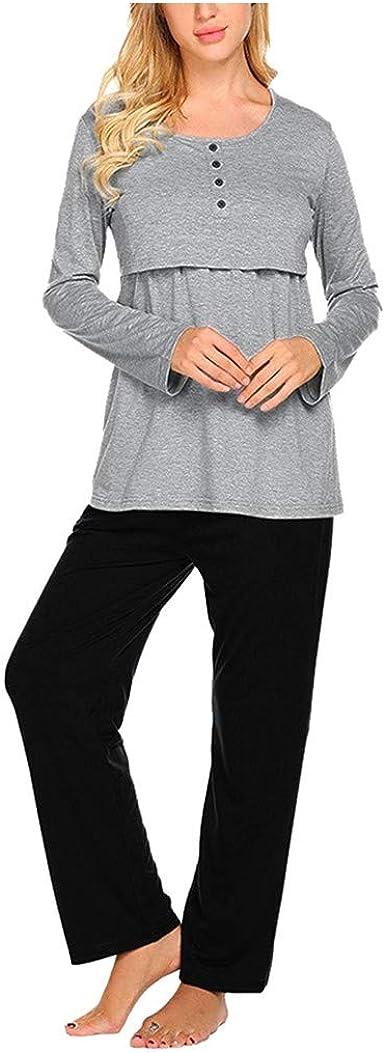 Camisa de noche Premaman 2 piezas suave pijama y pantalón de algodón lactancia camisetas maternidad ajustable pantalones de pijama Set mujer embarazada gris M: Amazon.es: Ropa y accesorios