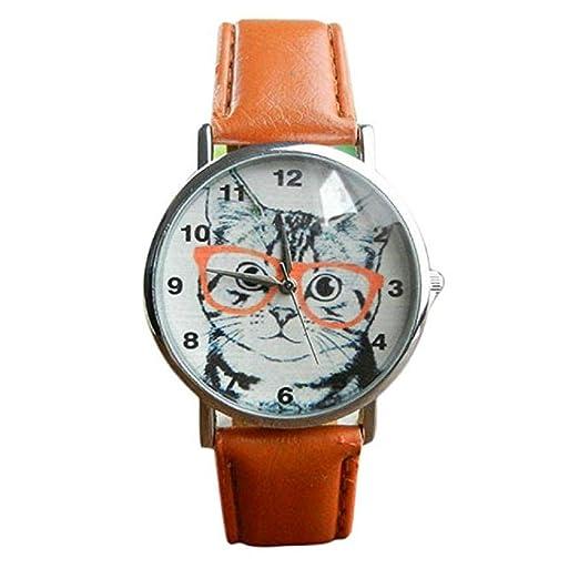 El Reloj Femenino del Cuarzo del Reloj del Gato del Cuarzo analiza los Relojes de señora en el Reloj de Cuero de la Venta (Marrón): Amazon.es: Relojes