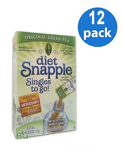 Diet SNAPPLE GREEN TEA Soft Drink Mix 6 Sticks In Each Box (12 Pack) GL